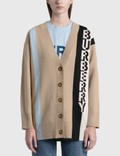 Burberry Logo Merino Wool Blend Jacquard Cardigan Picture