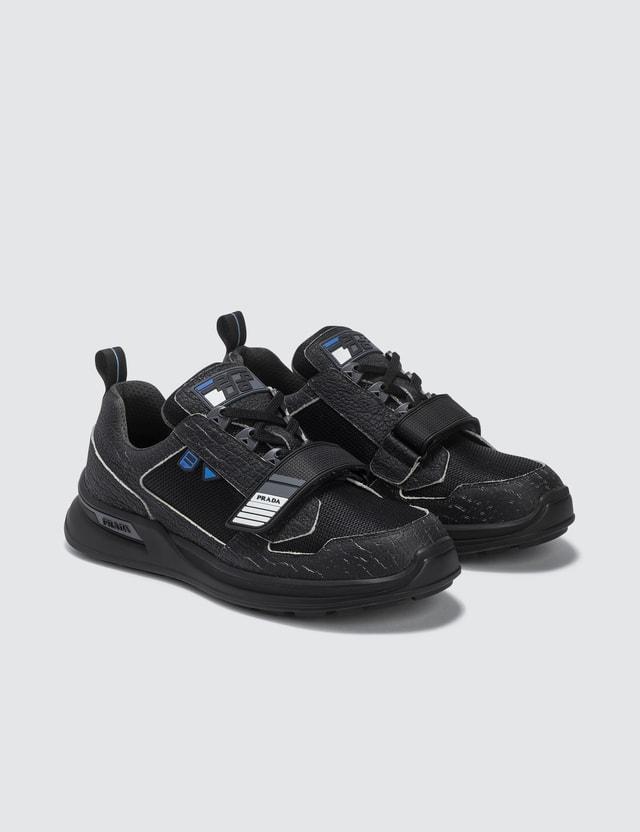 Prada Grain Leather Trim Velcro Strap Sneaker