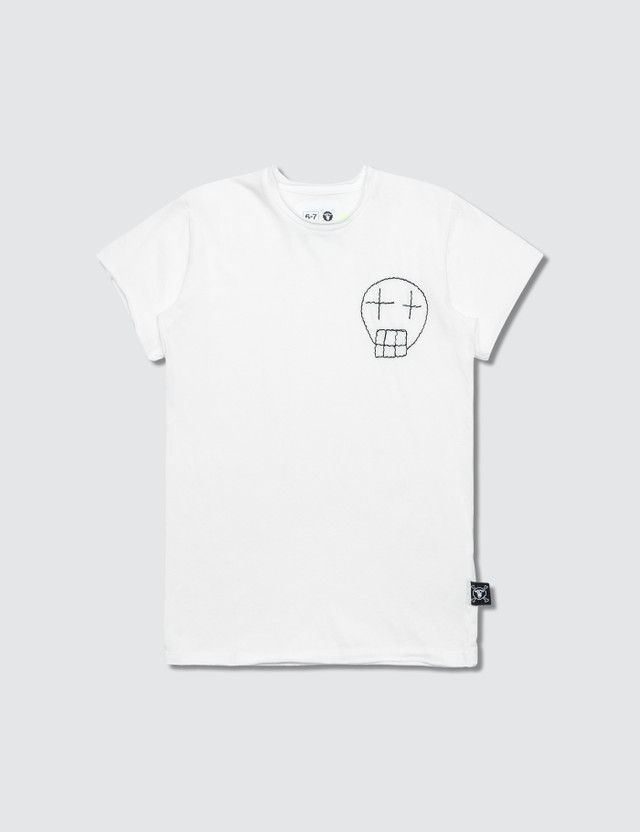 NUNUNU Embroidered Sketch Skull T-Shirt