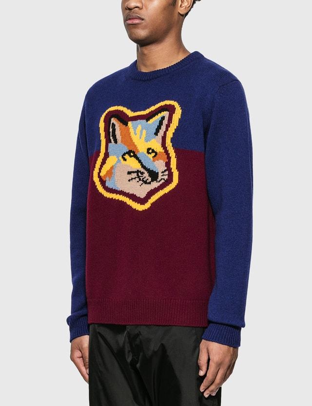 Maison Kitsune Colorblock Fox Head Pullover