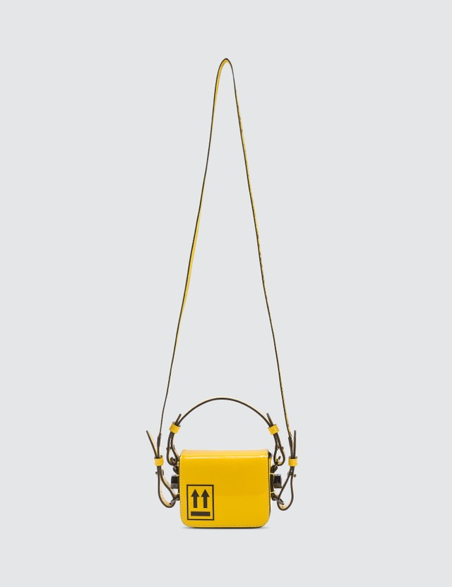 Off-White Patent Baby Binder Clip Bag