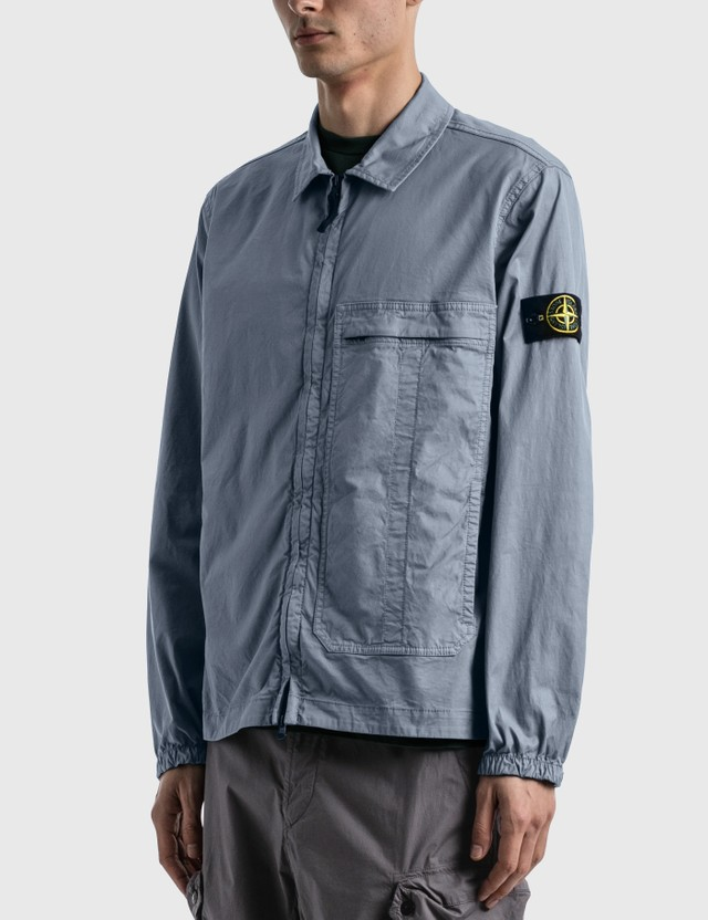 Stone Island Big Pocket Zip Shirt Mid Blue Men