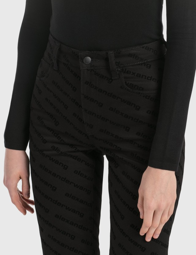 Alexander Wang.T High Rise Logo Print Jeans Stay Black Women