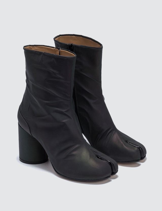 Maison Margiela Tabi Split-Toe Leather Ankle Boots In Reflective Fabric