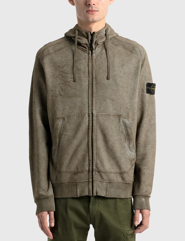 Stone Island Zip Up Hoodie Grey Men