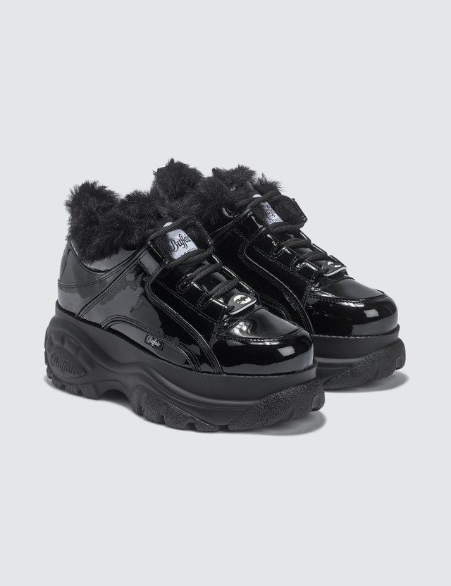 Buffalo London Patent Leather Low Top Platform Sneakers With Fur Black Women