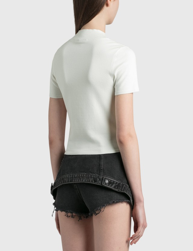 Alexander Wang.T Bodycon Mock Neck Top Soft White Women