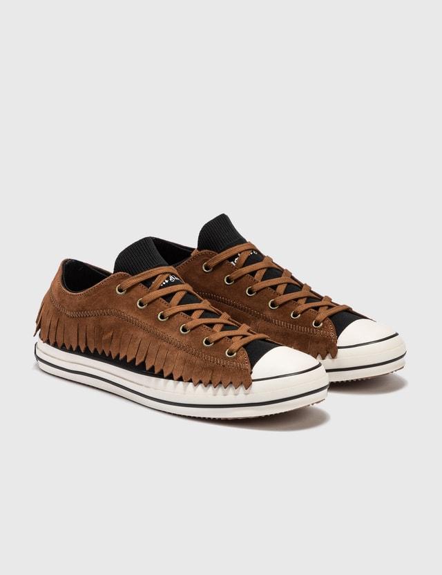 Palm Angels Fringe Basket Low Vulcanized Sneaker Brown Men