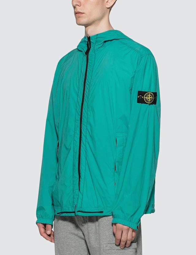 Stone Island 스킨 터치 나일론 패커블 지퍼 재킷 Turquoise Men