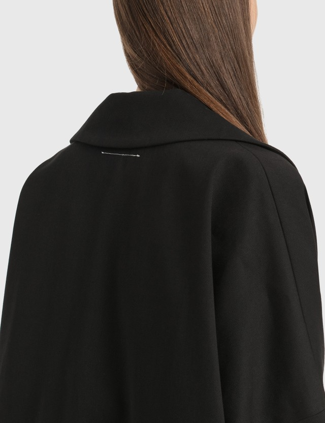 MM6 Maison Margiela Oversized Reversed Logo Coat Black Women