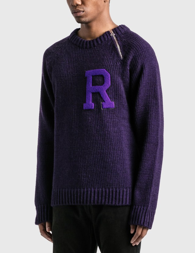 Raf Simons Letter Badge And Zipper Raglan Sweater Dark Purple Men