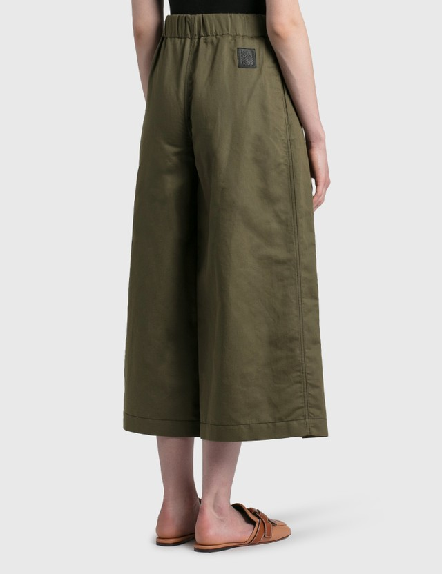 Loewe Cropped Belted Trousers Khaki Green Women