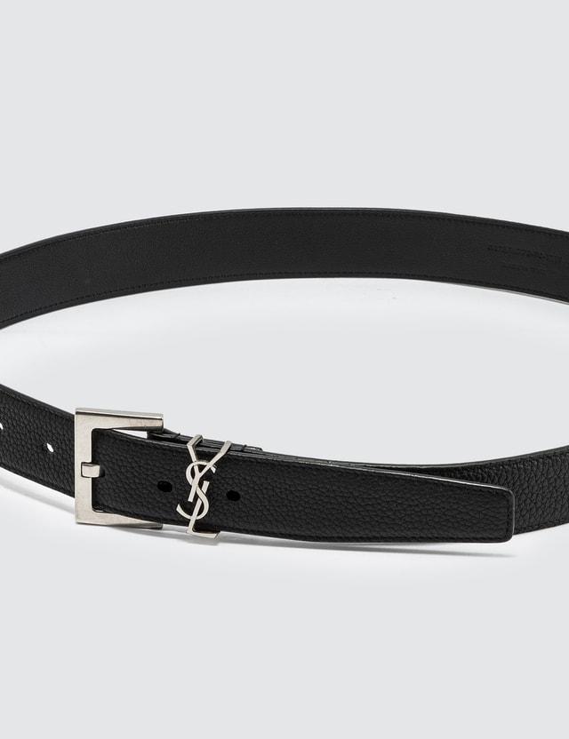 Saint Laurent Monogram Belt In Grained Leather