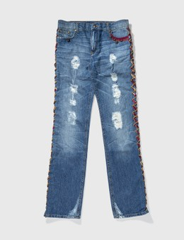 ROBERTO CAVALLI Roberto Cavalli Lace Up Trimming Washed Jeans