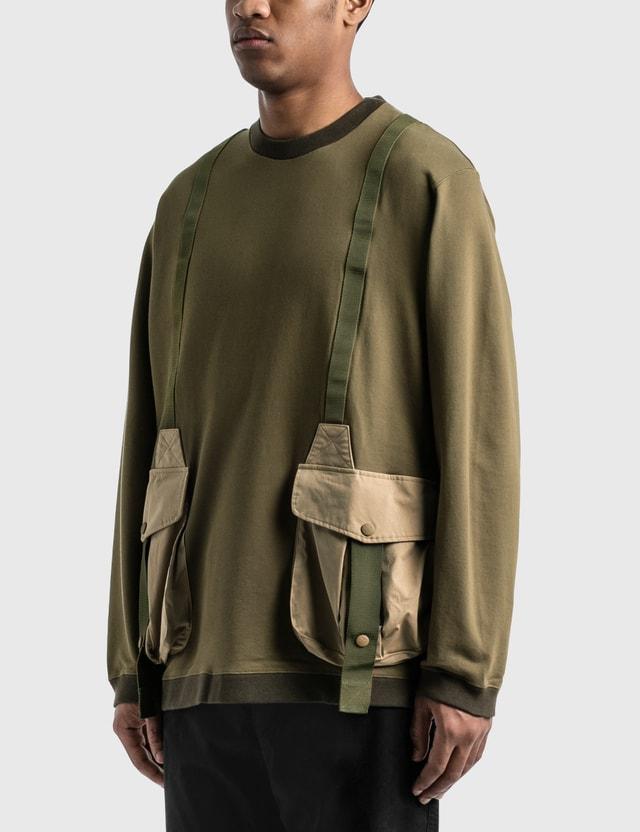 White Mountaineering Hunting Pocket Taped Sweatshirt Khaki Men