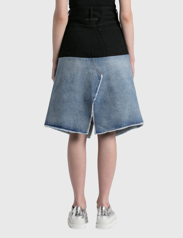 MM6 Maison Margiela Patched Denim Skirt Stone Vintage/black Women