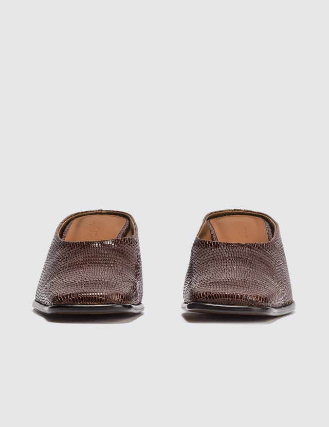 BY FAR Kim Brown Lizard Embossed Leather Mules