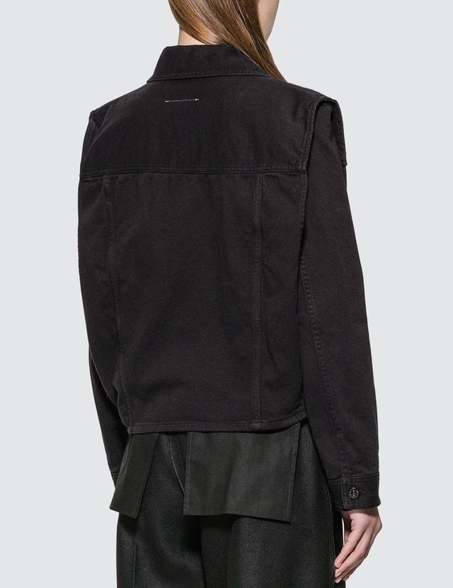 MM6 Maison Margiela Denim Jacket With Removable Sleeve Black Women