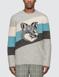 Maison Kitsune Fox Head Diagonal Stripes Pullover Picutre