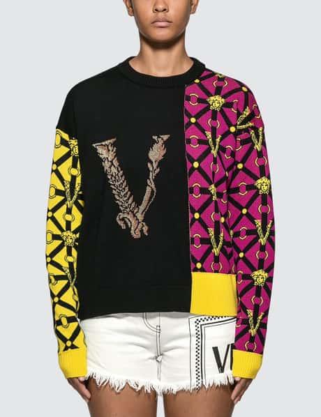 베르사체 니트 스웨터 Versace Patchwork Motif Knitted Sweater