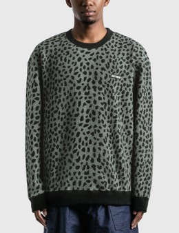 Wacko Maria Leopard Fleece Crew Neck Sweatshirt