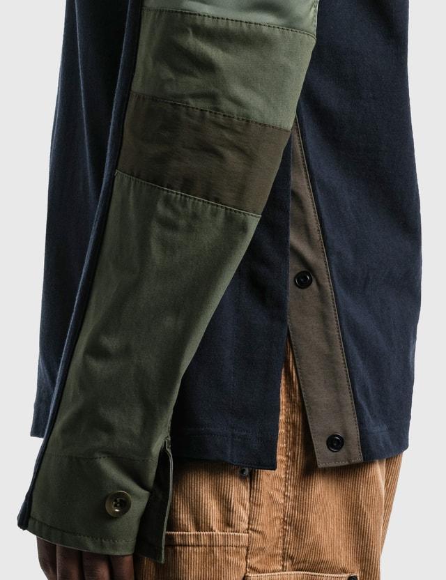 Sacai Cotton Jersey Long Sleeve T-shirt Navy X Khaki Men