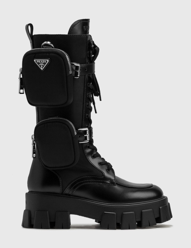 Prada Brushed Rois Leather And Nylon Monolith Boots Nero Women