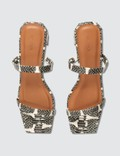 BY FAR Tanya Snake Print Leather Sandals Graphic Women