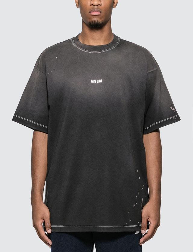 MSGM Paint Splatter Logo T-Shirt