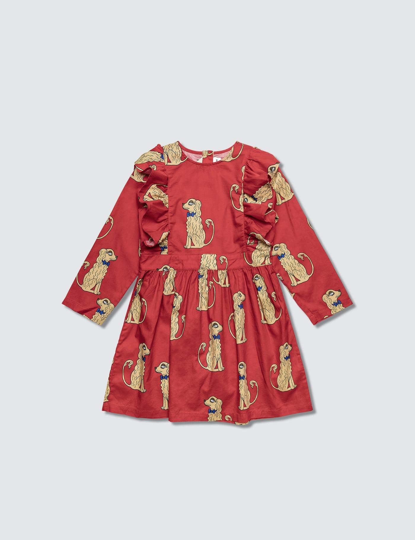 Spaniels Woven Ruffled Dress