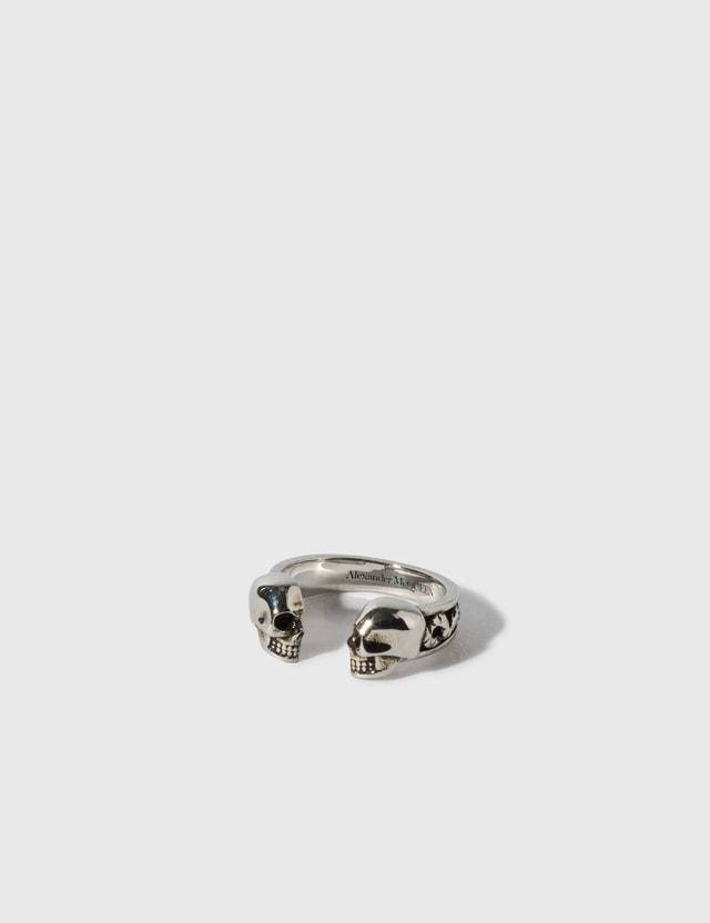 Alexander McQueen Twill Skull Ring Silver Men