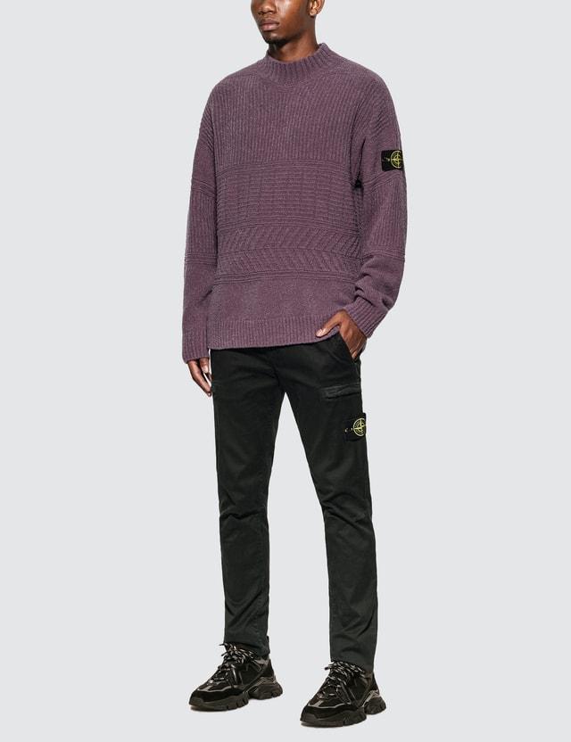 Stone Island Rib Knit Sweater With Compass Logo Badge