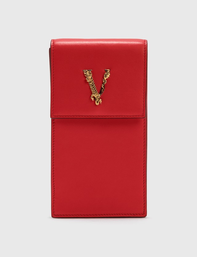 Versace Virtus Phone Pouch Eros Flame Red-oro Tribute Women
