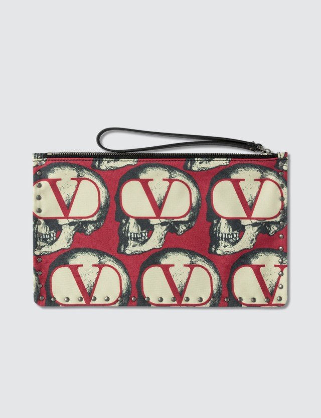 Valentino Valentino x Undercover Rockstud Skull Print Pouch
