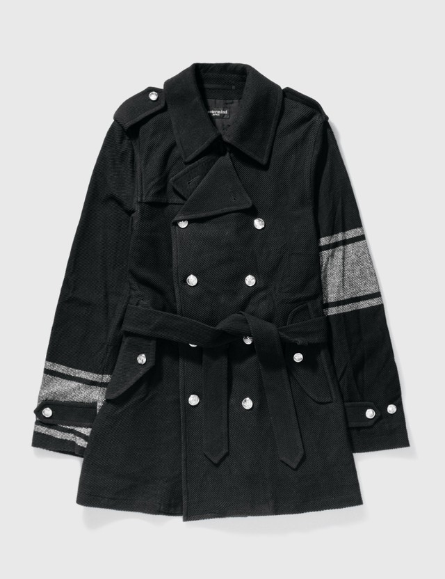 Mastermind Japan Mastermind Japan Double Breast With Silver Glitter Trench Coat Black Archives