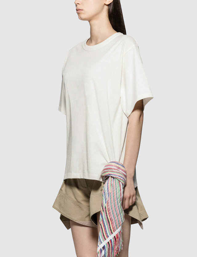 JW Anderson T-shirt With Multi Colour Stripe Scarf Detail
