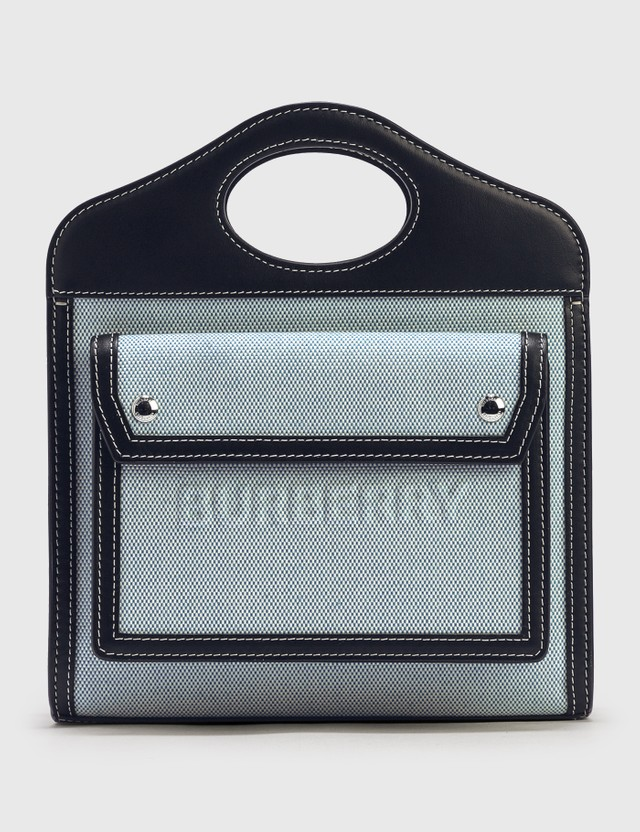 Burberry Mini Two-tone Canvas and Leather Pocket Bag Vivid Cobalt Women