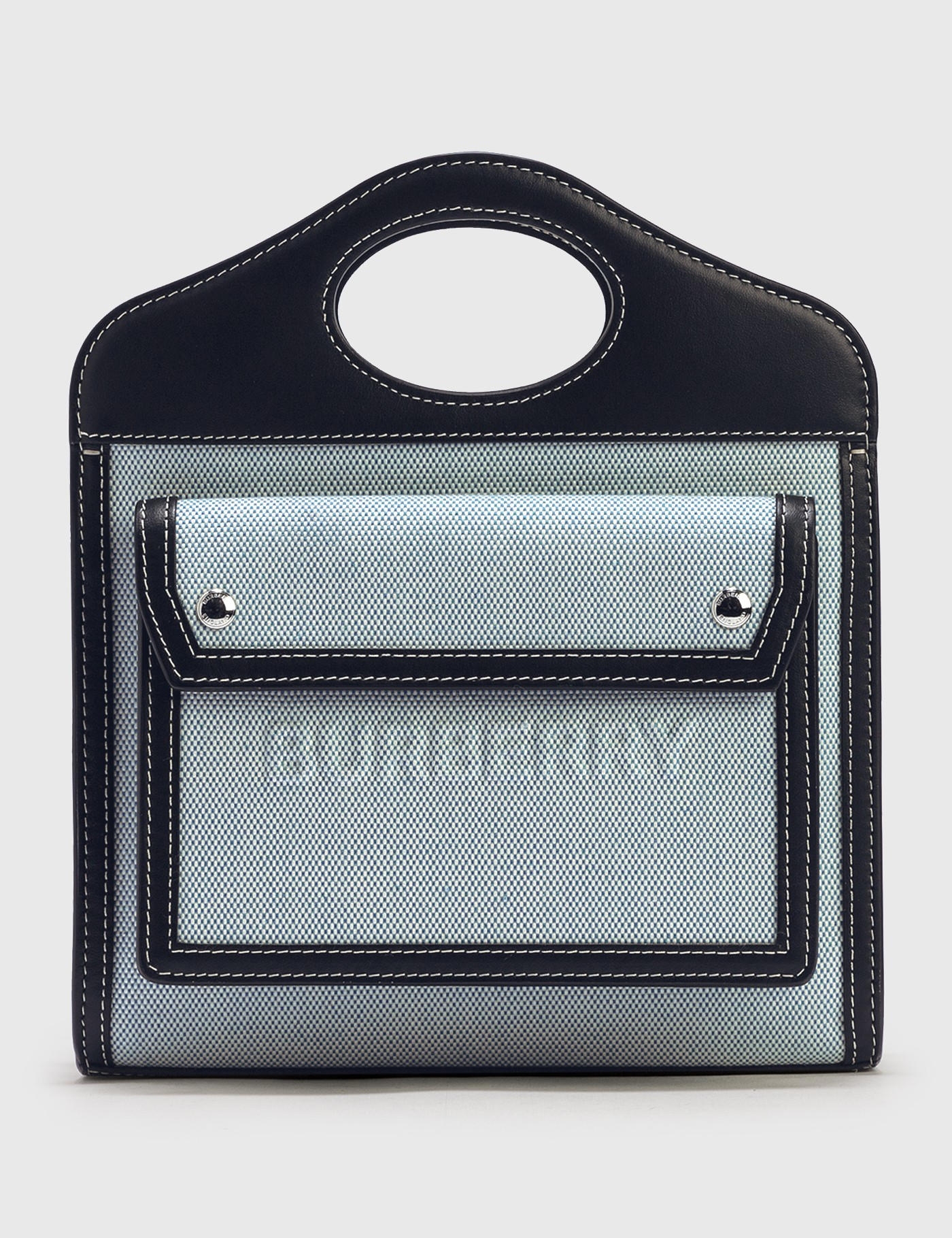 Burberry Canvases MINI TWO-TONE CANVAS AND LEATHER POCKET BAG