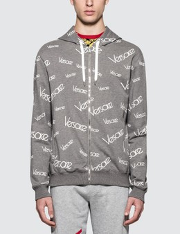 Versace Font Monogram Printed Zip Up Hoodie