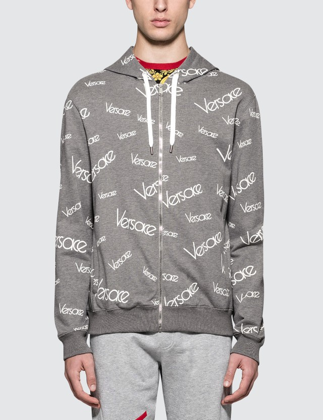 Versace Font Monogram Printed Zip Up Hoodie Grigio+stampa Men