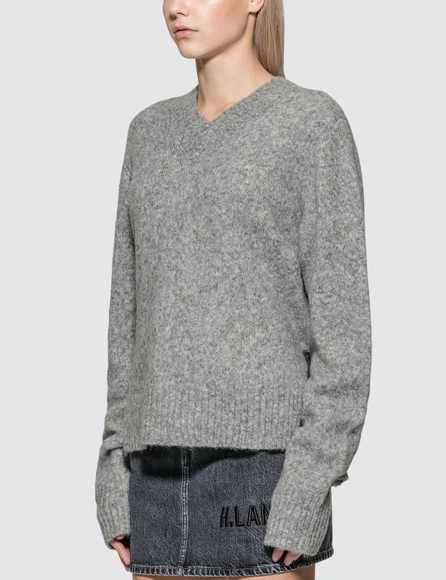Helmut Lang Brushed V-Neck Tie Sleeve Sweater
