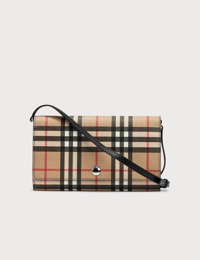 Burberry Vintage Check E-canvas Wallet with Detachable Strap