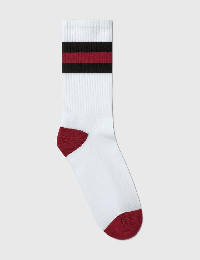 Maison Kitsune Striped Fox Head Socks White Men