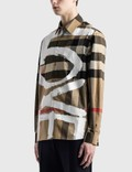 Burberry Love Print Check Stretch Cotton Oversized Shirt Archive Beige Ip Chk Men
