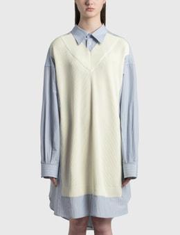 Maison Margiela Spliced Knit Shirt Dress