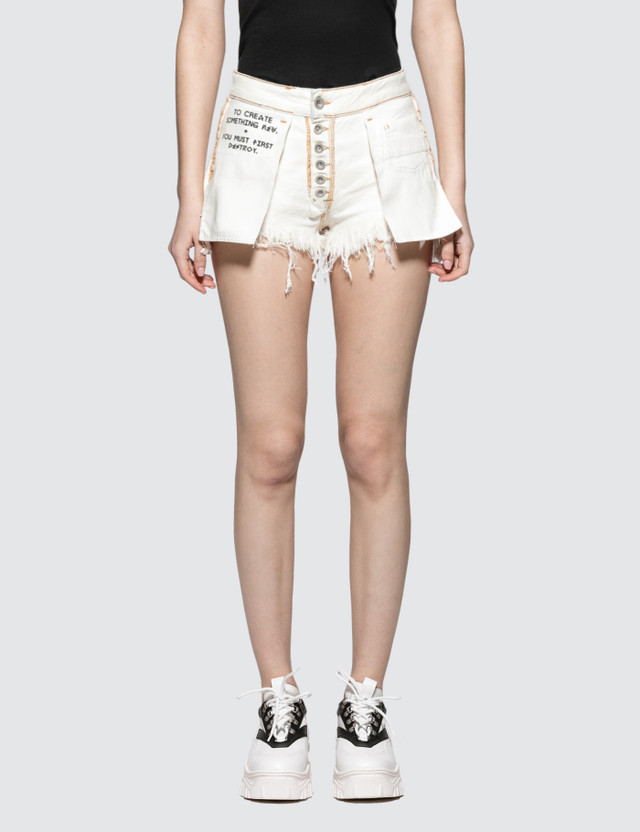 Unravel Project Washout Denim Reversed Shorts