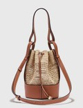 Loewe Small Balloon Bag In Raffia And Calfskin Natural/tan Women
