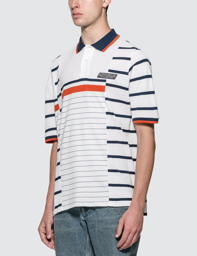 Martine Rose Striped Polo Shirt Wht/org/nvy Stripe Men
