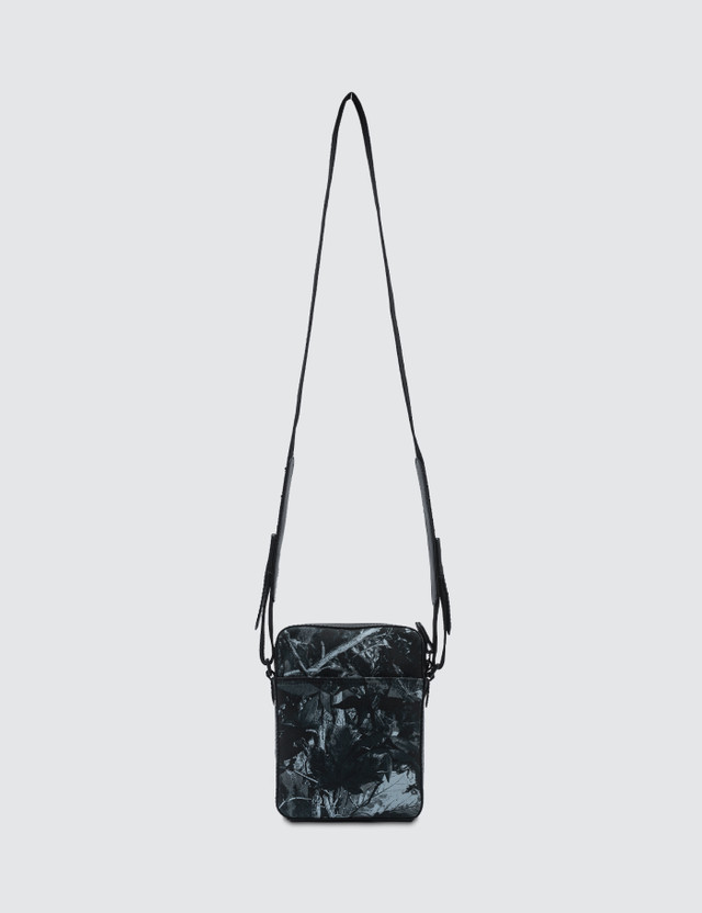Lanvin Travel Pouch In Forest Printed Canvas Ink Blue Men