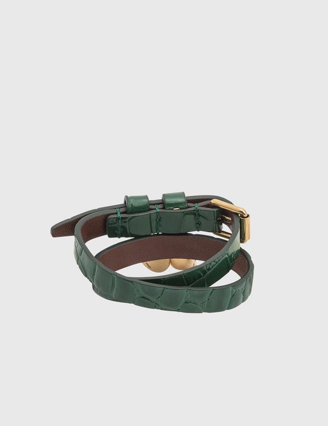 Alexander McQueen Leather Double Wrap Skull Bracelet Emerald Women
